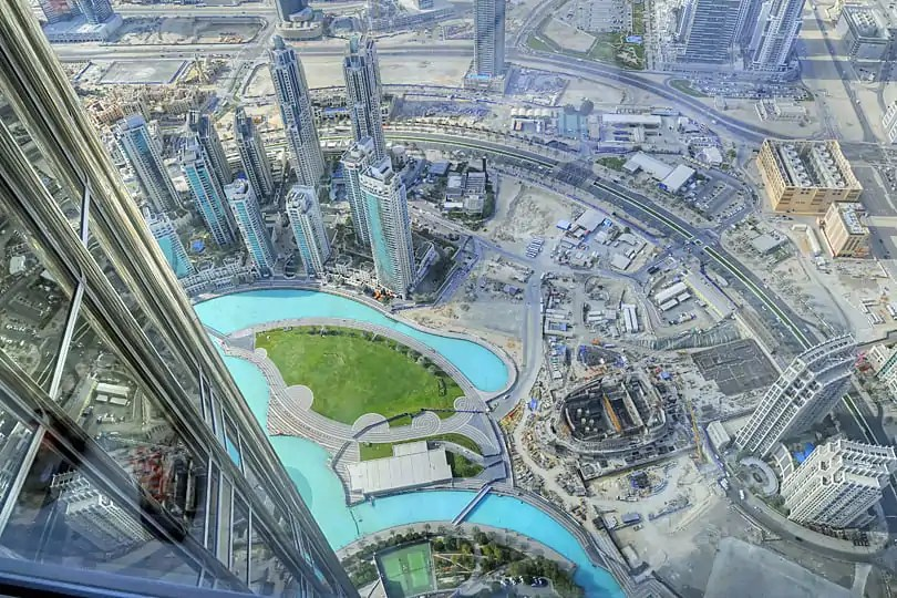 View from the Burj Khalifa, of the skyscrapers of Dubai