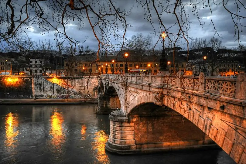 River Tiber by night, Rome, Italy