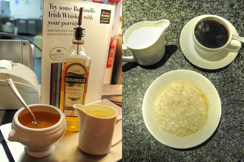 A Northern Irish breakfast, porridge with honey and Bushmills Whiskey