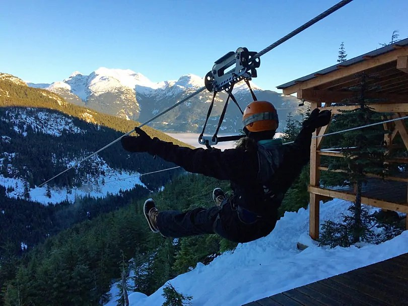 Getting ready for a winter flight at Superfly Ziplines. Photo by Johanna Read www.TravelEater.net
