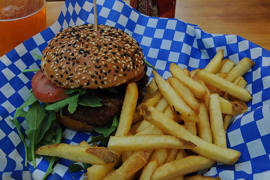 Steak burger at Capilano Suspension Bridge Park, Vancouver, British Columbia, Canada