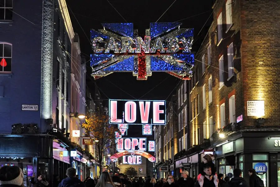 Christmas lights of Carnaby Street, London