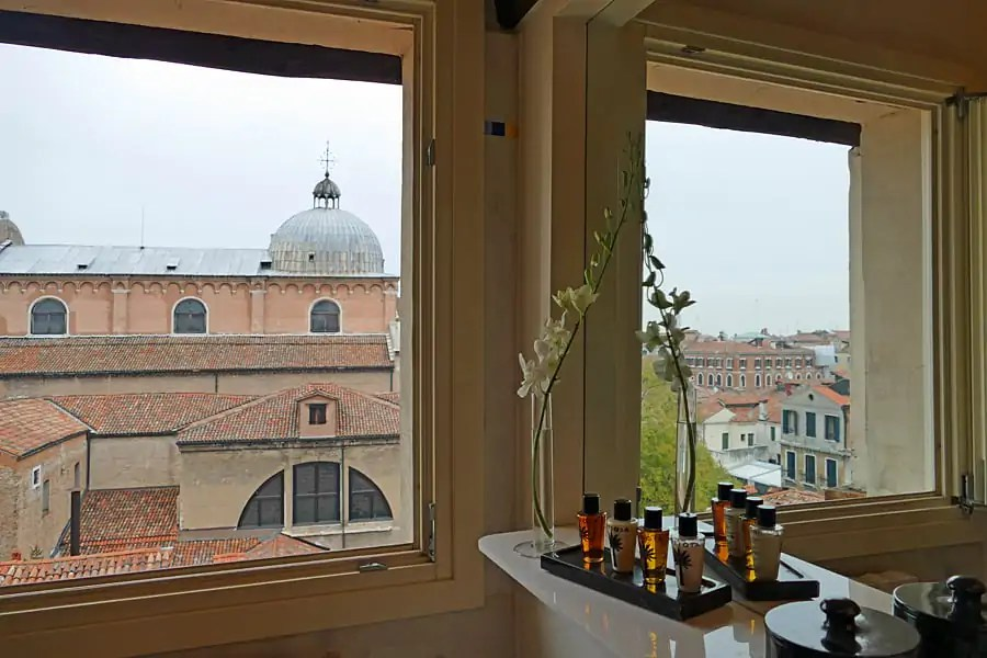 A loo with a view at the Hotel Londra Palace, Venice, Italy