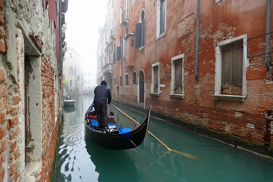 Exploring the smaller canals of Venice, Italy