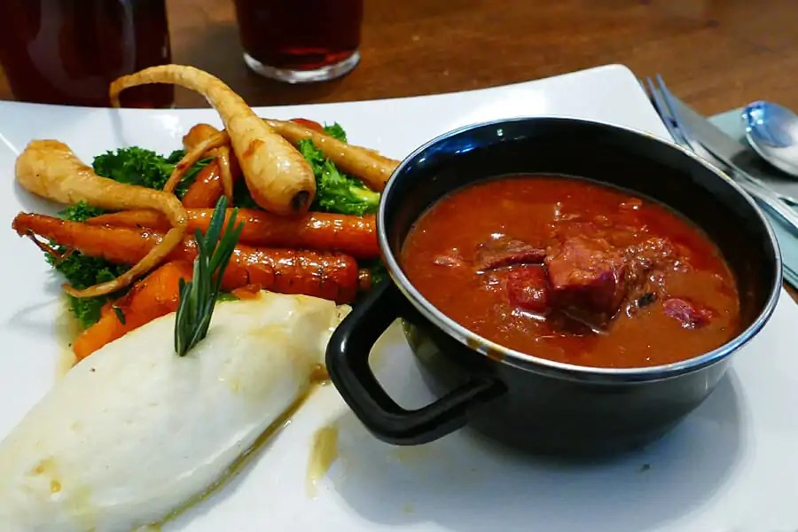 Wild Purbeck game Casserole at the Greyhound, Corfe Castle