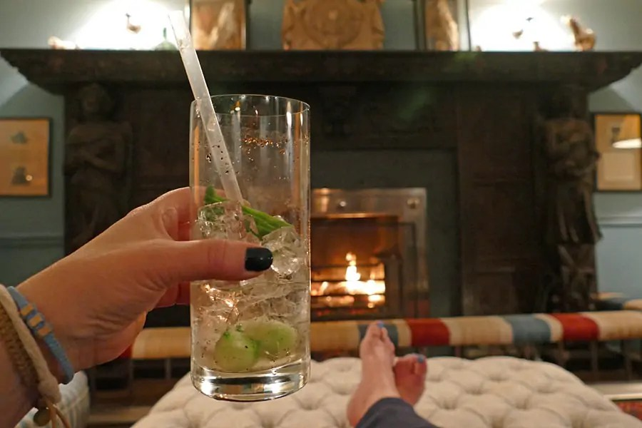 Hendrick's Cucumber and Black Pepper gin cocktail at The Goodwood Hotel, West Sussex