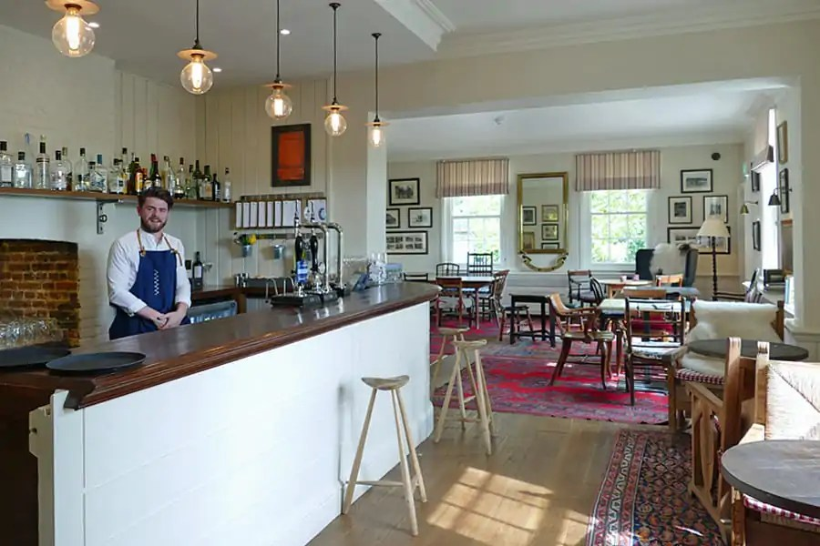 The bar at Farmer, Butcher, Chef at the Goodwood Hotel, nr Chichester, West Sussex