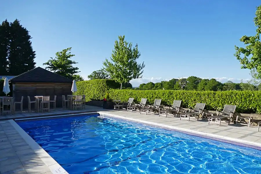 The outdoor pool at the Park House Hotel and Spa, West Sussex, England