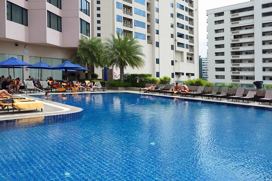 The swimming pool at the Rembrandt Hotel, Bangkok, Thailand