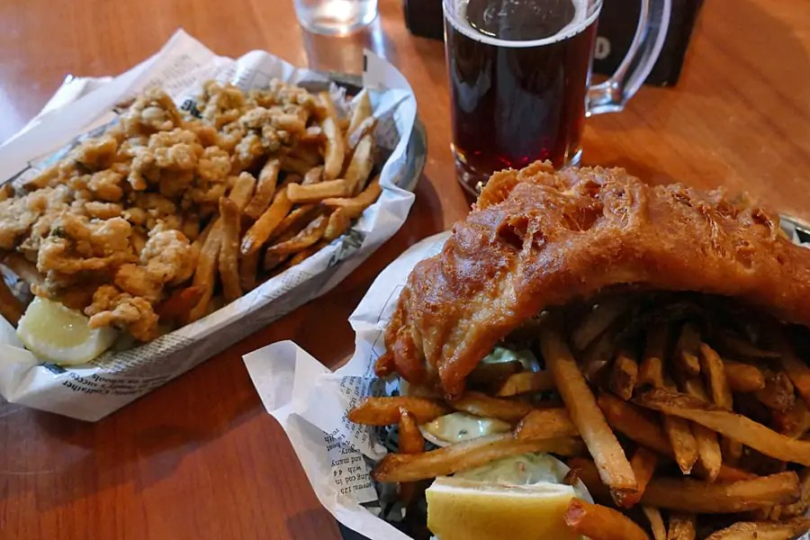 Fish n chips and deep fried clams at The Red Herring, St Andrews, New Brunswick,Canada