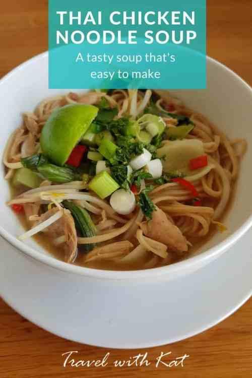 An easy to make Thai chicken noodle soup recipe #Thai #Soup #Recipe