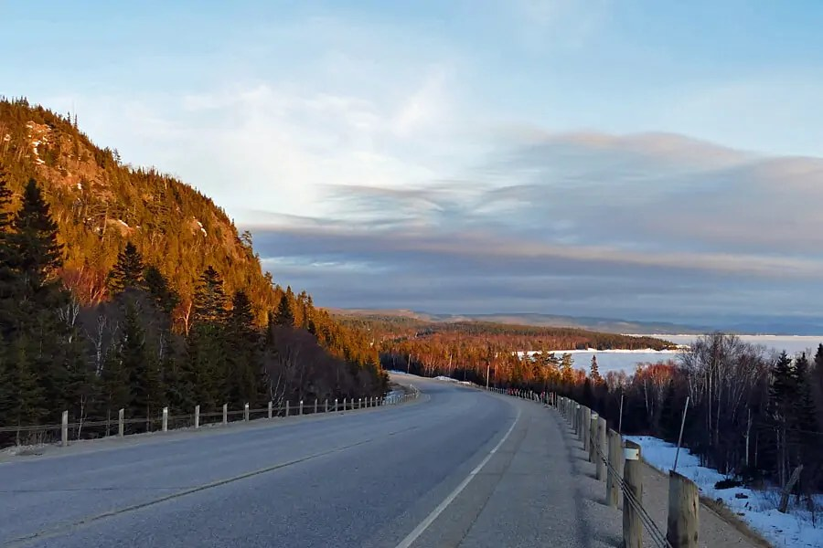 Driving through Lake Superior Provincial Park, Algoma, Ontario, Canada