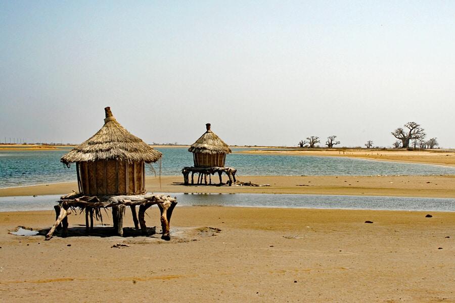 Grain storage huts on stilts in the Sine Saloum Delta