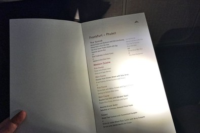 Review Thai Business Class Frankfurt - Phuket Menükarte Speisekarte