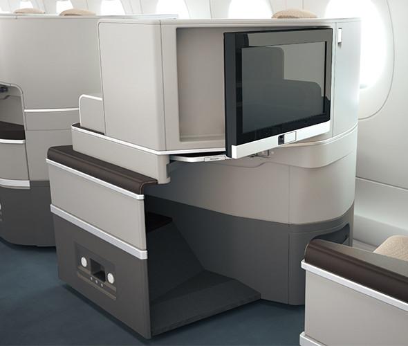 neue TAP Business Class Airbus A330-900neo Sitz Recaro Bildschirm ausgeklappt