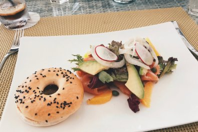 Review JA Manafaru Maldives Lunch Infinity Pool Salmon Bagel