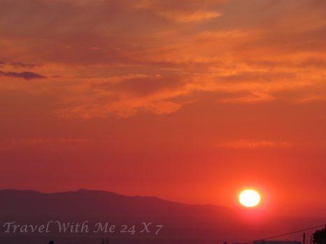 sunset across Mykonos