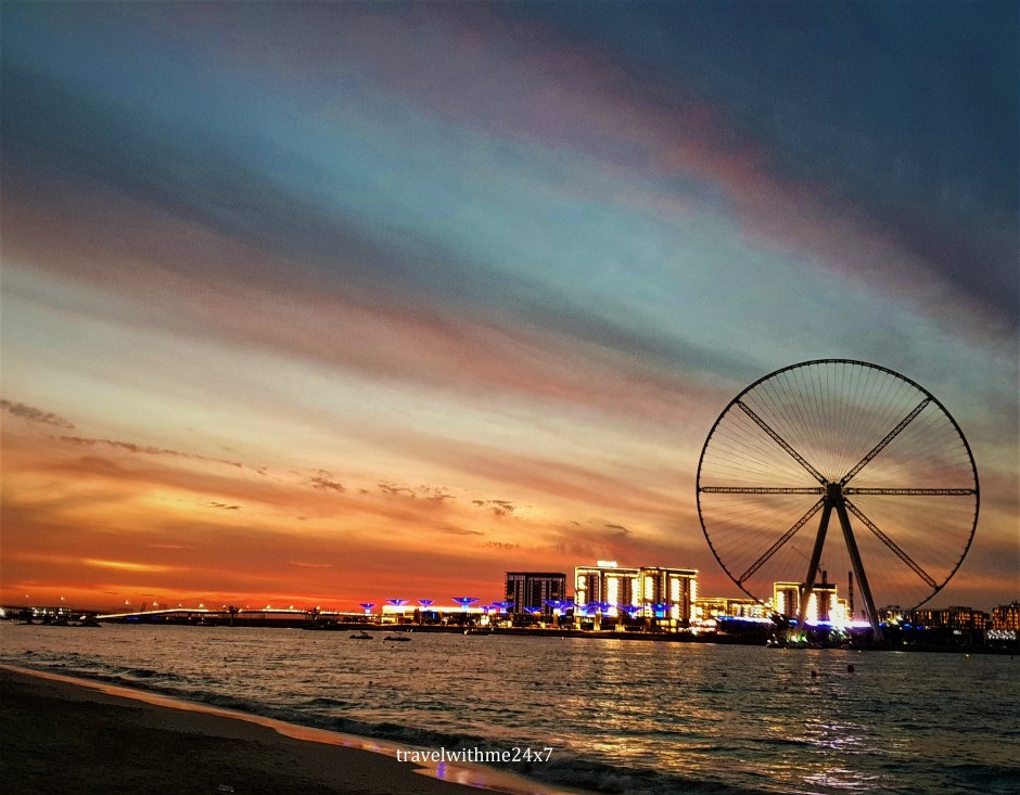 Sunset at JBR Beach - Dubai at night