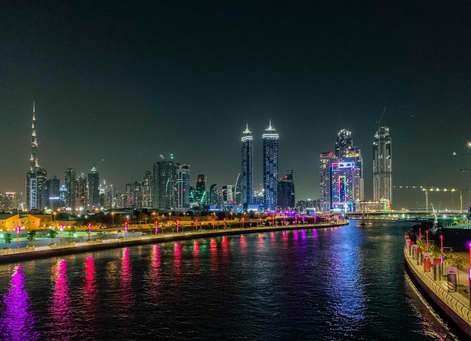 Dubai Canal at night