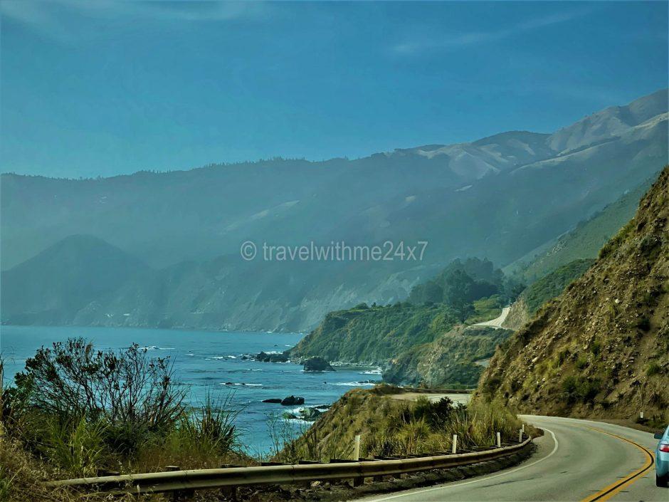 Pacific Coast scenic drive along Californian beaches