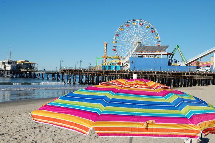 Santa Monica mferrygoround on beach - Beautiful & Prettiest beaches In California - Best Beaches In California