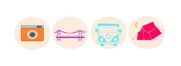 Icones pour voyager aux Etats-Unis différemment
