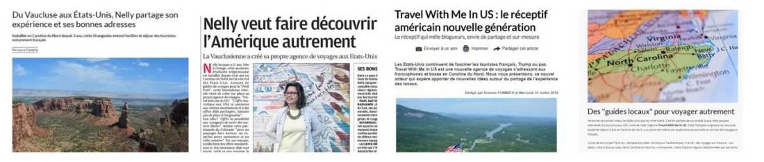 Montage presse Travel With Me In US pd - Travel planner & coach du voyage aux Etats-Unis