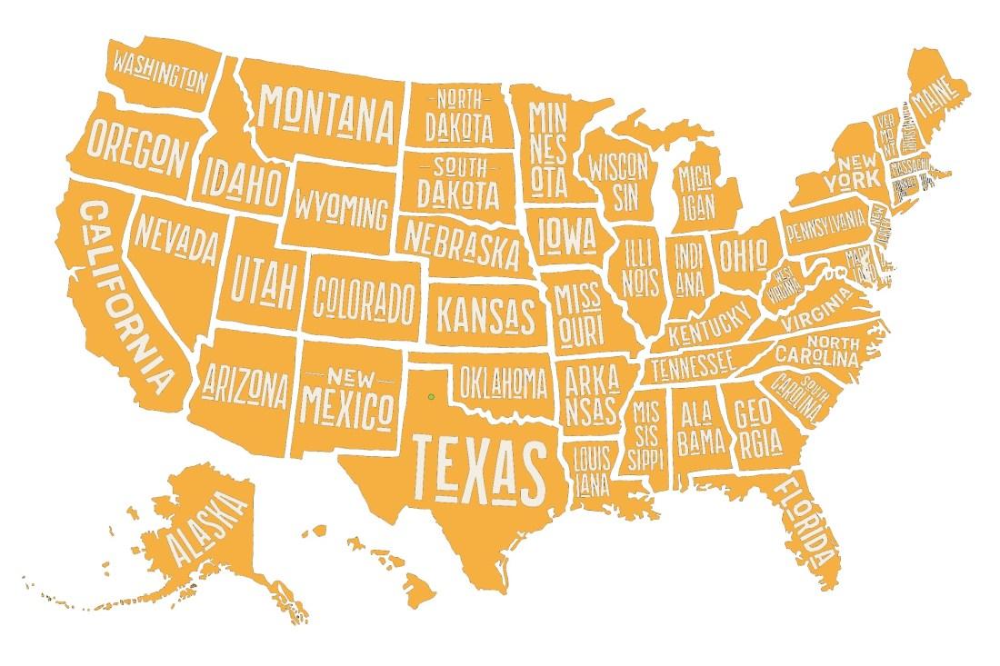 Carte fond blanc - Destination - voyage aux USA