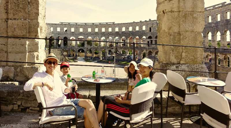 great view of amphitheatre in Pula from coffee shop