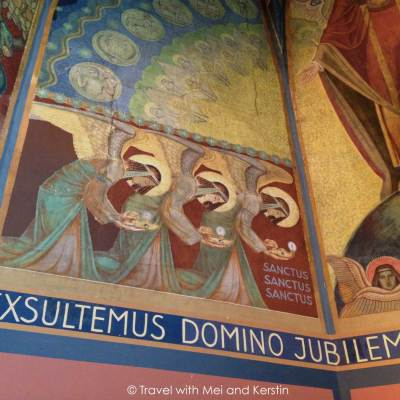Notker Becker's mural paintings in the Benedictine Convent's Chapel, Peppange © Travelwithmk.com