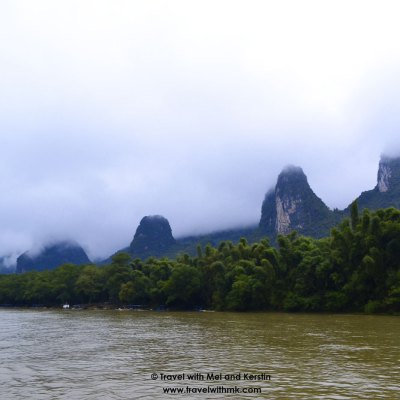 Karst mountains from the Li River, Guanxi, China © Travelwithmk.com