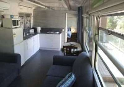 Inside Train Carriage Accommodation at Pelican Waters, Port Fairy