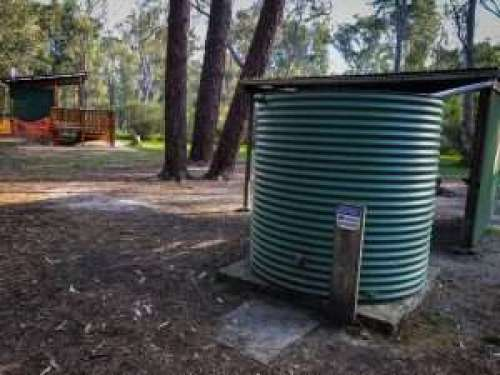 Rainwater tank at Chookarloo Campground at Kuitpo Forest