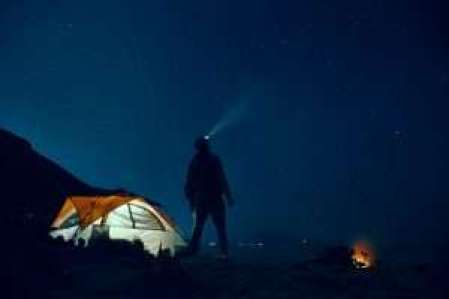 Man with headtouch at night, camping