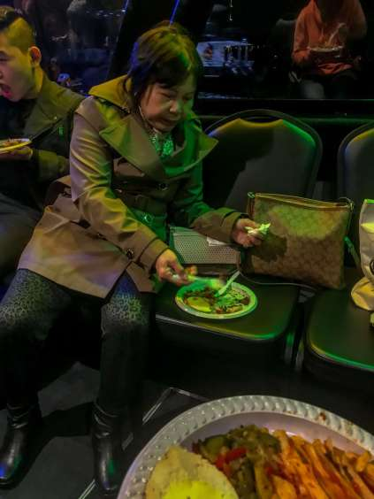 Groupon Vivid Cruise Experience, eating food off chairs