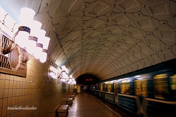 Metro Station In Moscow Thin Line Train And Art