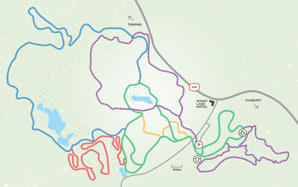 Onaping Falls, Ontario Cross-Country Ski Trail Map