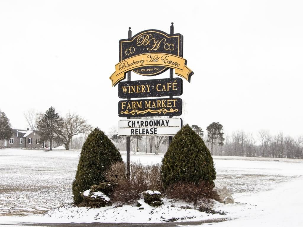 Blueberry Hill Estates Winery and Cafe Front Sign in the Winter
