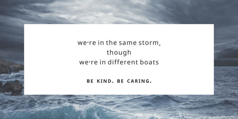 covid musings - Same Storm. Different Boats.
