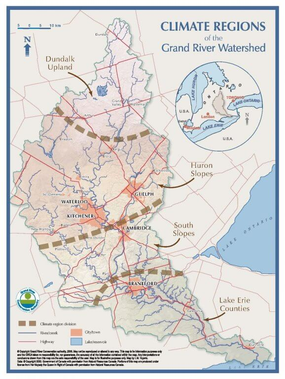 Watershed Map Climate Zones - Grand River.ca