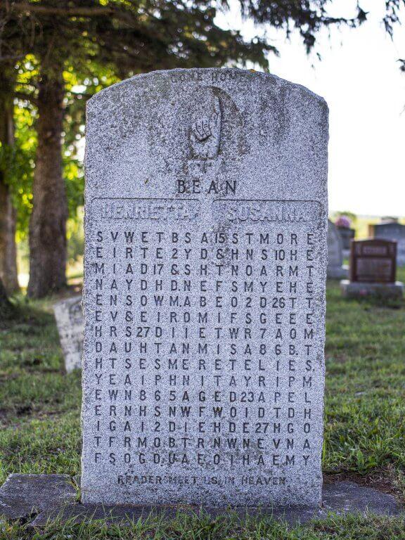 Samuel Bean 1982 Cryptic Gravestone in Wellesly Township, Ontario