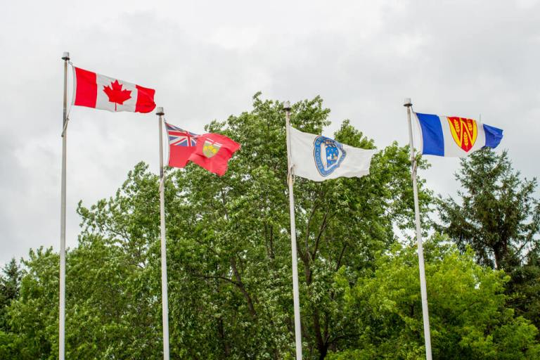 Flags at Castle Kilbride in Baden Ontario