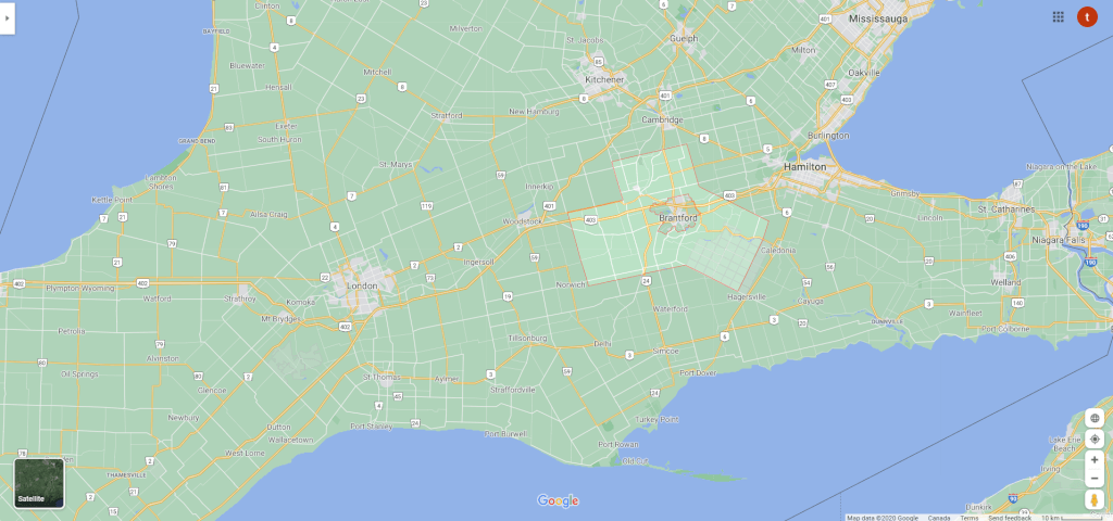 Map of Brant County in Ontario Canada