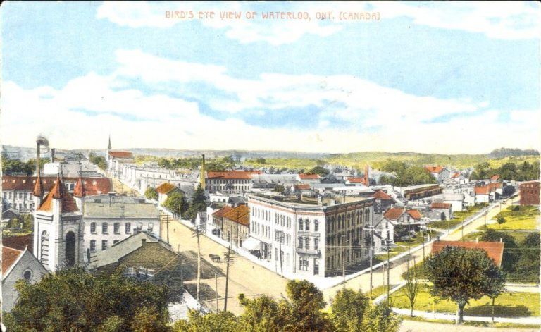 King and William Street Birds Eye View Historical colour