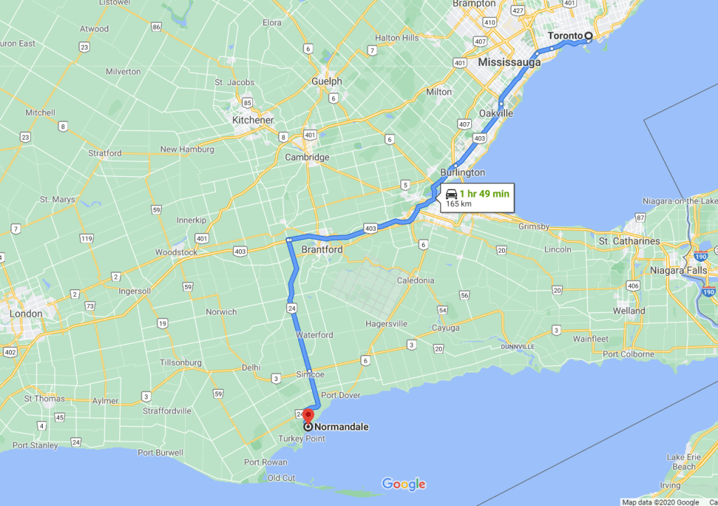 Directions from Toronto to Normandale, Ontario