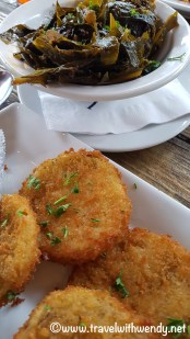 Fried green tomatoes with collards