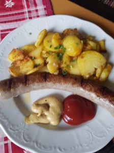 Brats and taters at the huts in Austria