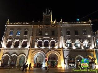 Lisbon train station at night