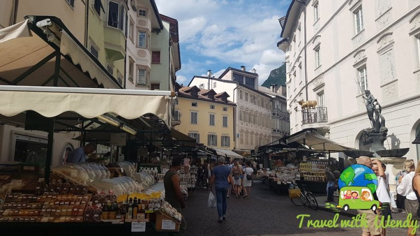 Market square with Neptune in Bolzano