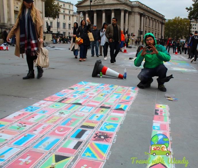 Street Art fun - so colorful - Trafalgar Square